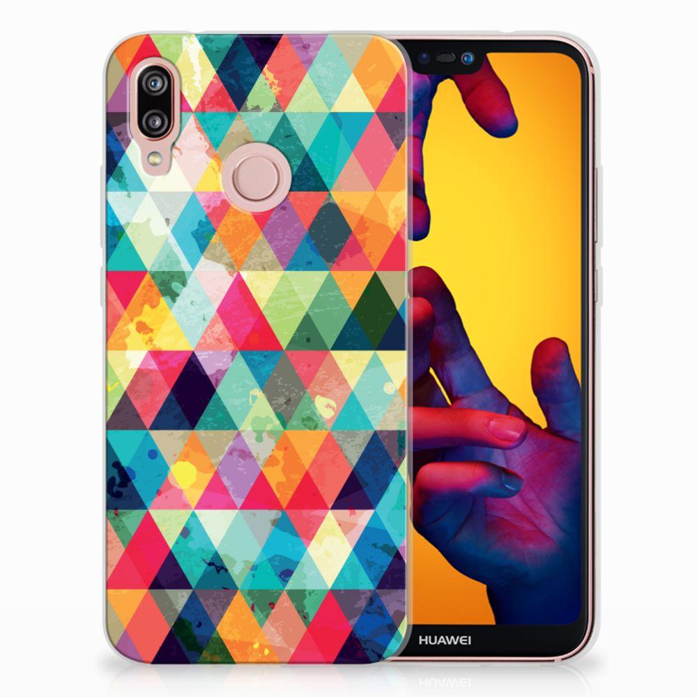Huawei P20 Lite Uniek TPU Hoesje Geruit
