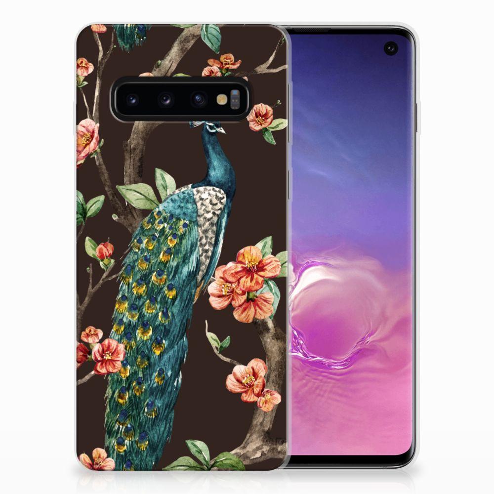 Samsung Galaxy S10 TPU Hoesje Pauw met Bloemen