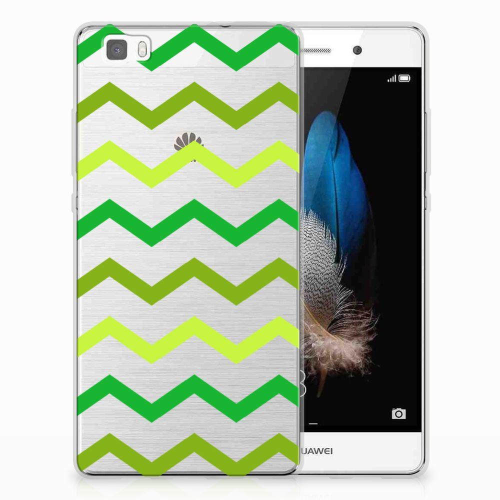 Huawei Ascend P8 Lite TPU bumper Zigzag Groen