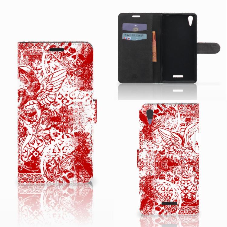 Telefoonhoesje met Naam Sony Xperia T3 Angel Skull Rood