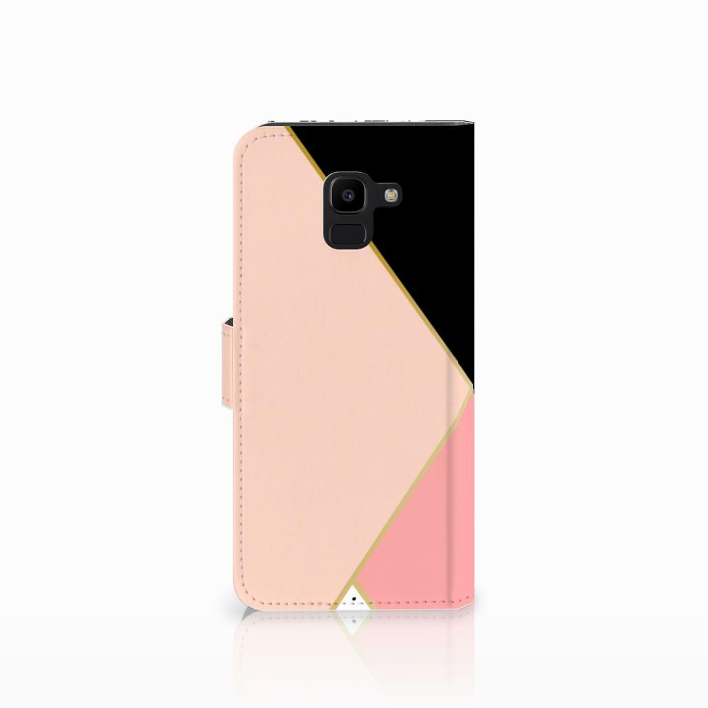 Samsung Galaxy J6 2018 Bookcase Zwart Roze Vormen