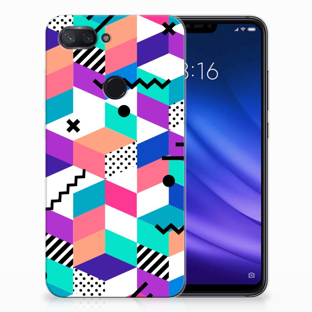 Xiaomi Mi 8 Lite TPU Hoesje Blokken Kleurrijk