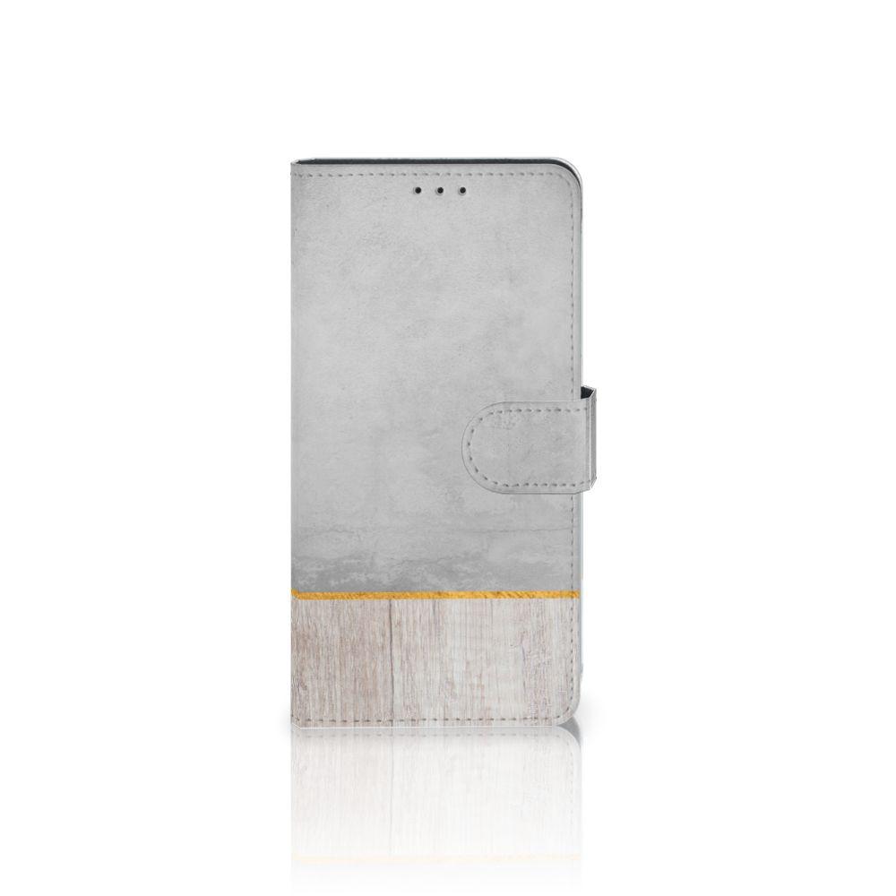 Samsung Galaxy A7 (2018) Uniek Boekhoesje Wood Concrete