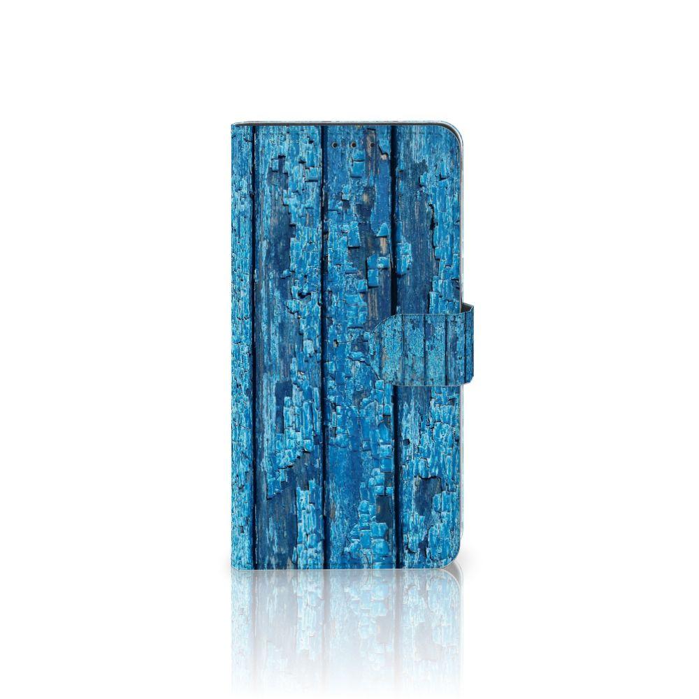 Samsung Galaxy A8 Plus (2018) Uniek Boekhoesje Wood Blue