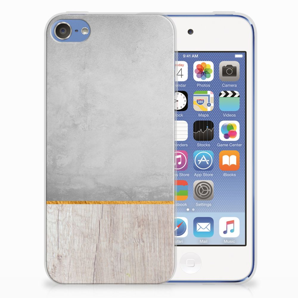 Apple iPod Touch 5 | 6 Uniek TPU Hoesje Wood Concrete