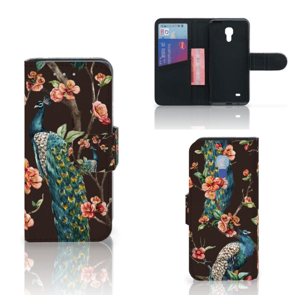 Samsung Galaxy S4 Mini i9190 Telefoonhoesje met Pasjes Pauw met Bloemen