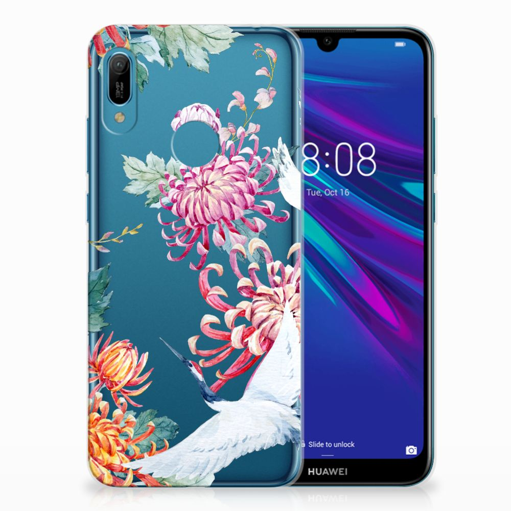 Huawei Y6 2019 | Y6 Pro 2019 TPU Hoesje Bird Flowers