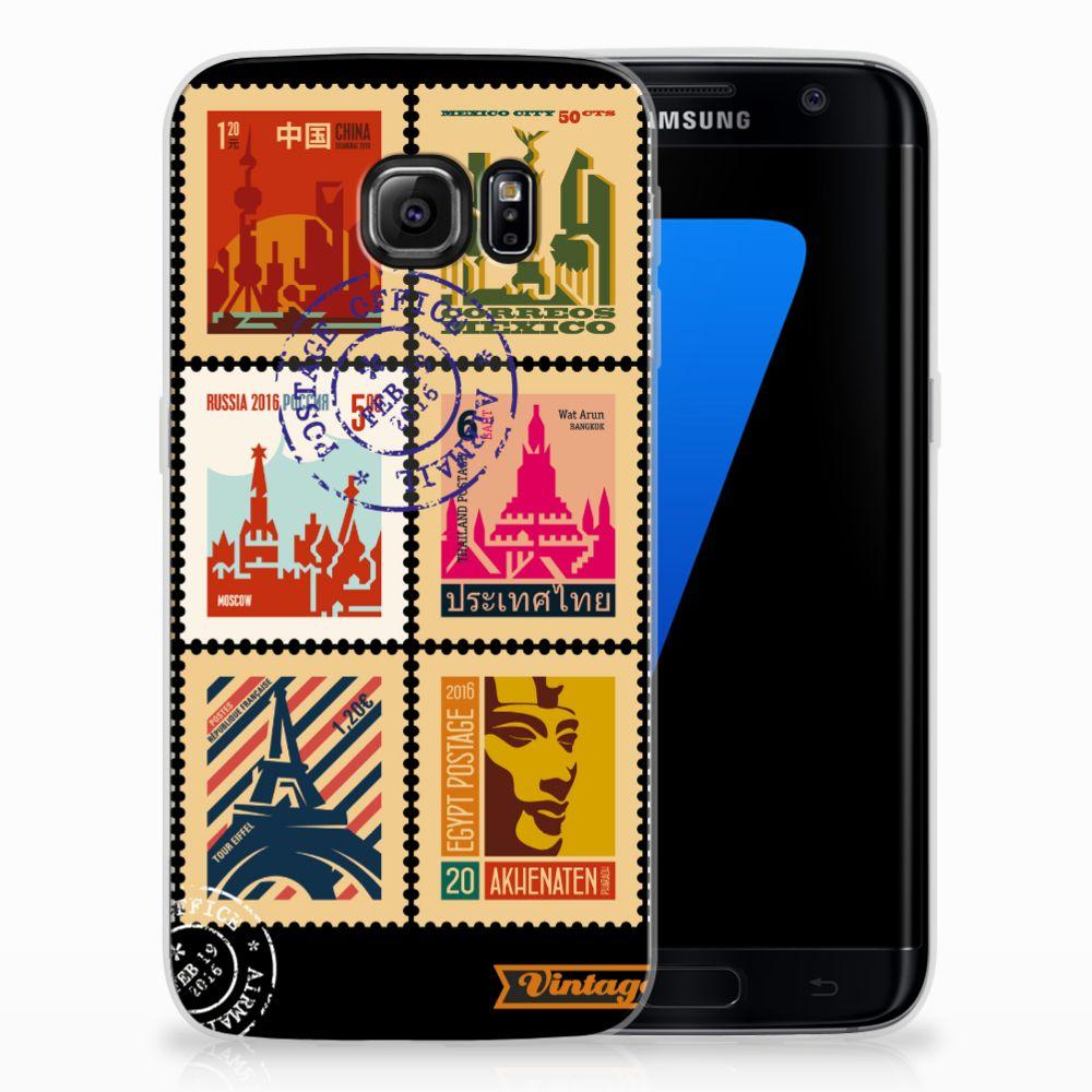 Samsung Galaxy S7 Edge Uniek TPU Hoesje Postzegels