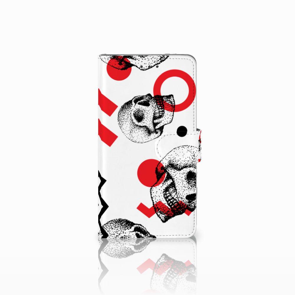 Samsung Galaxy J7 2016 Boekhoesje Design Skull Red