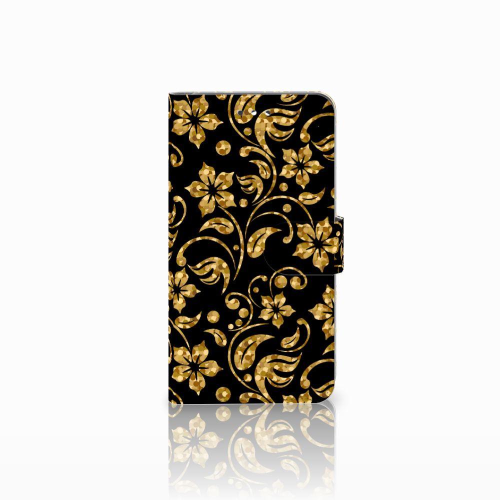 Huawei Y7 2017   Y7 Prime 2017 Boekhoesje Design Gouden Bloemen