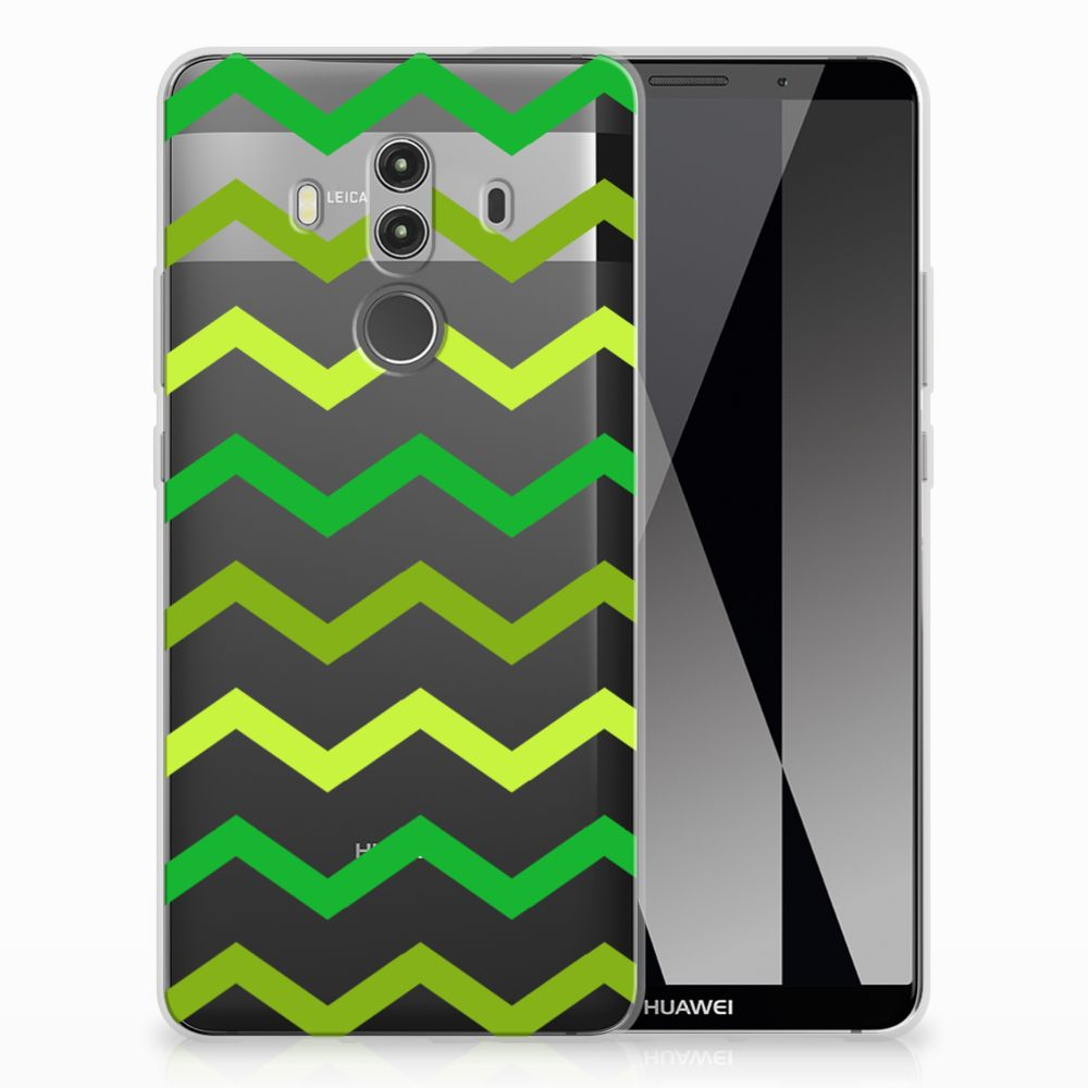Huawei Mate 10 Pro Uniek TPU Hoesje Zigzag Groen