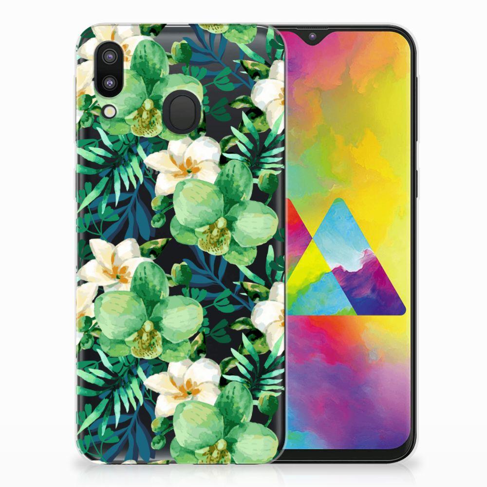Samsung Galaxy M20 Uniek TPU Hoesje Orchidee Groen