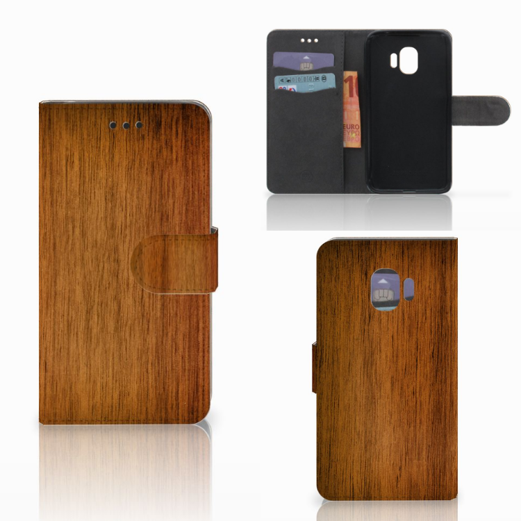 Samsung Galaxy J2 Pro 2018 Book Style Case Donker Hout