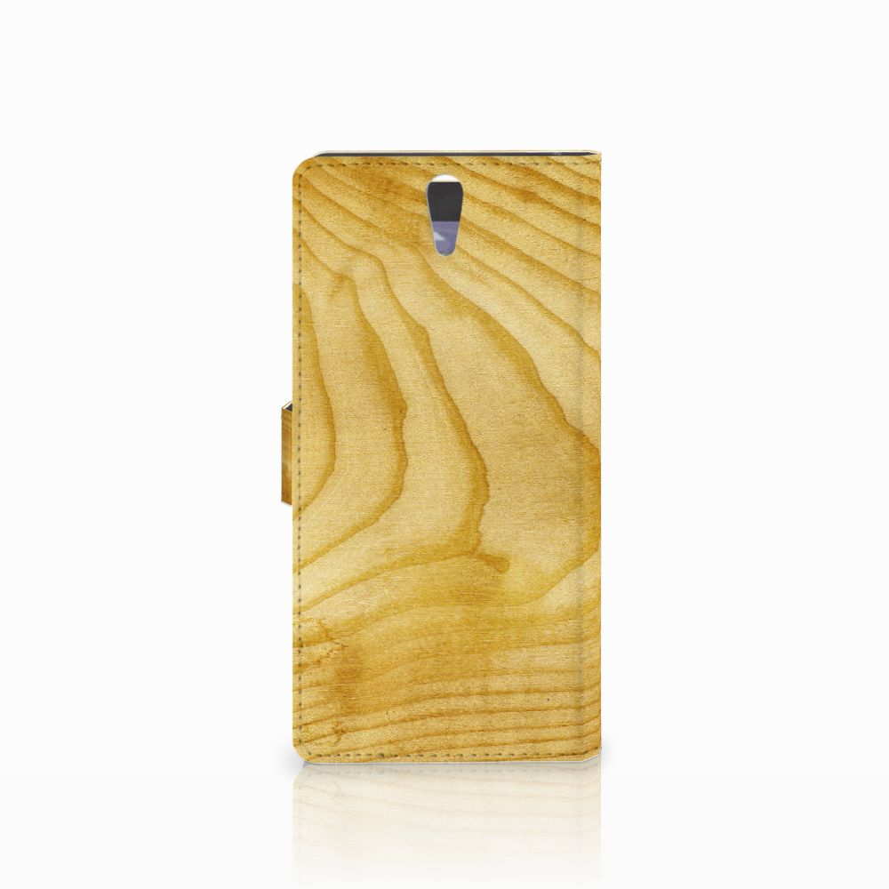 Sony Xperia C5 Ultra Book Style Case Licht Hout