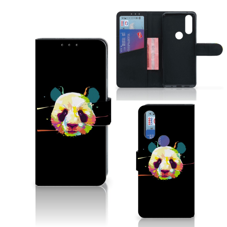 Motorola One Action Leuk Hoesje Panda Color