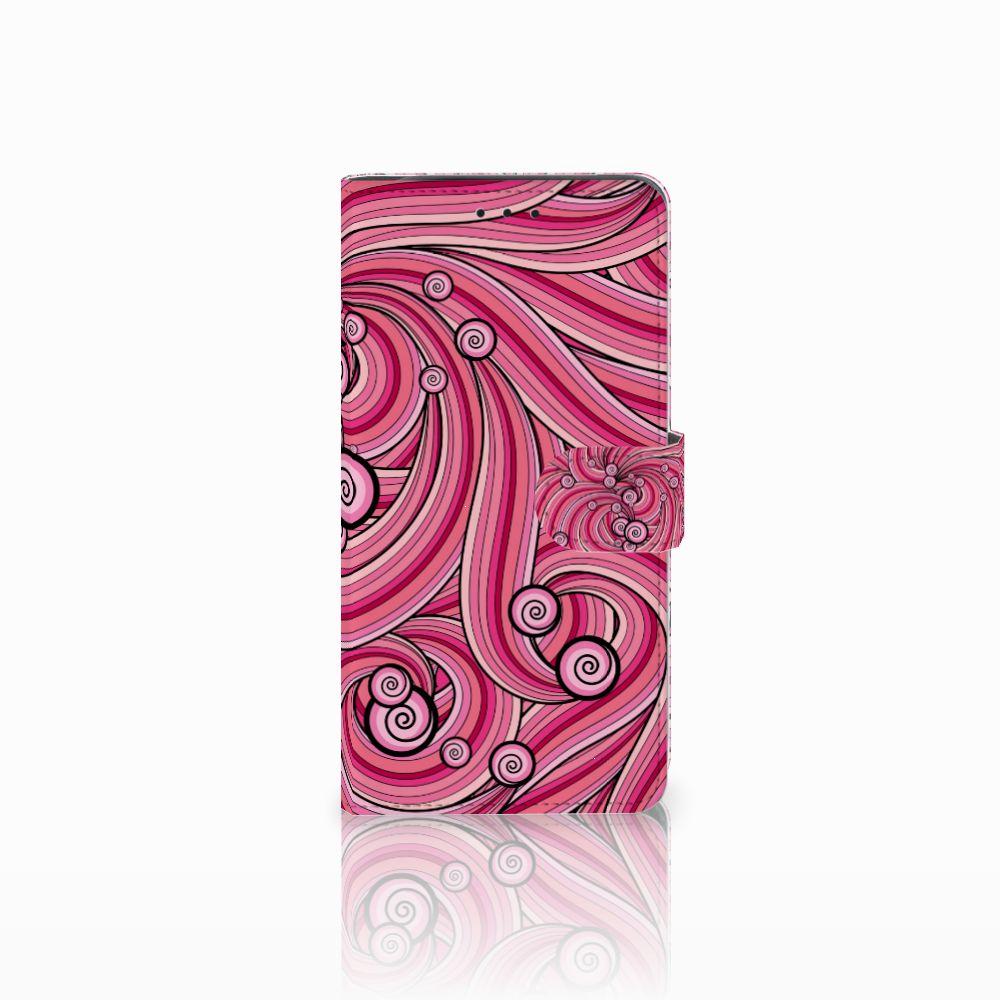 Samsung Galaxy J6 Plus (2018) Uniek Boekhoesje Swirl Pink
