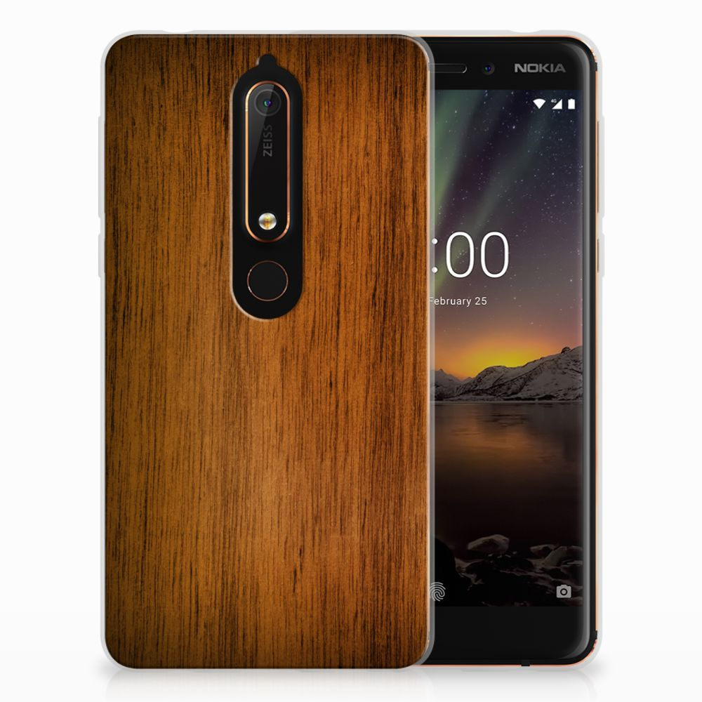 Nokia 6 (2018) Uniek TPU Hoesje Donker Hout