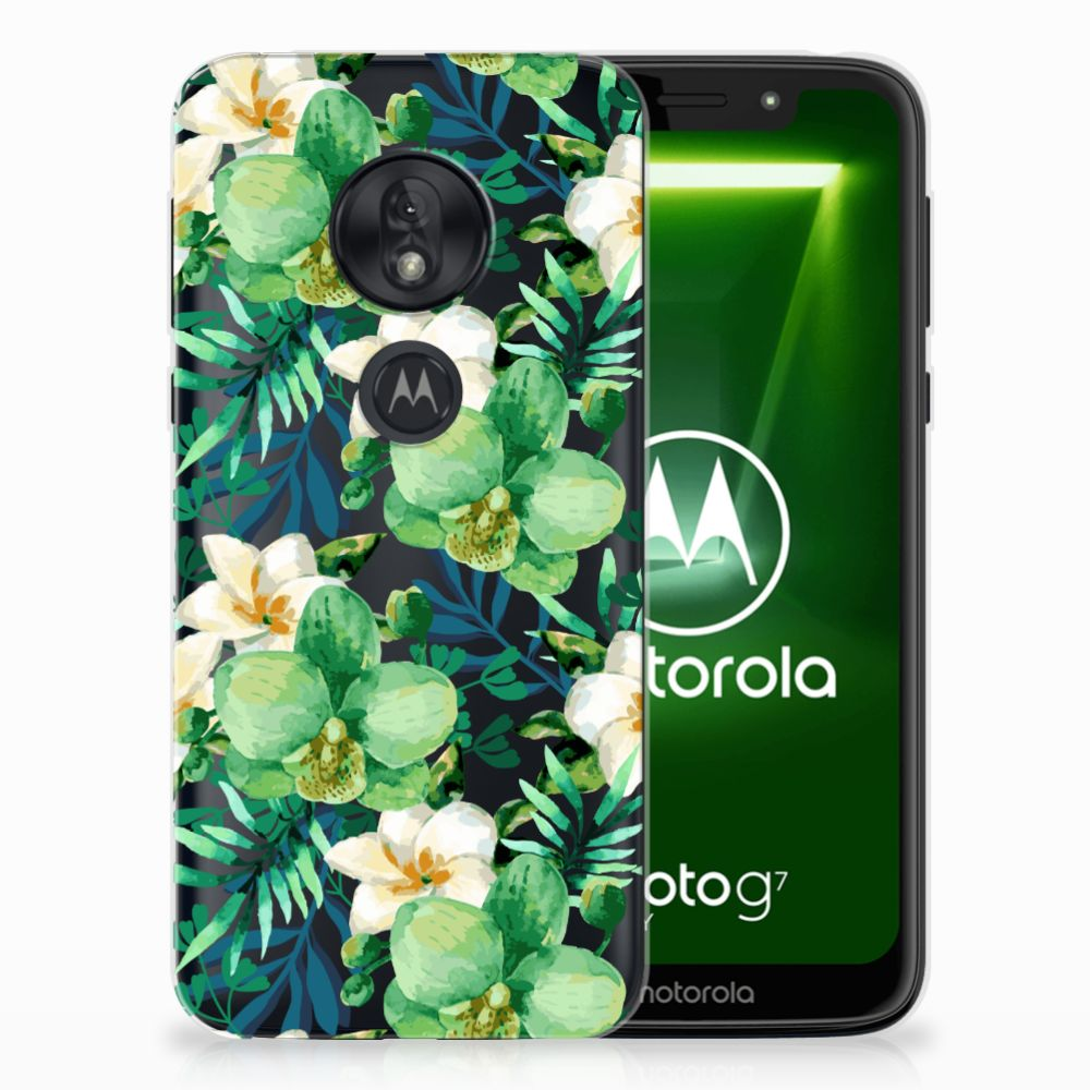 Motorola Moto G7 Play Uniek TPU Hoesje Orchidee Groen