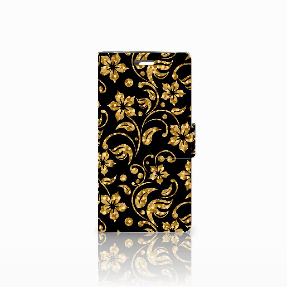 LG K10 2015 Boekhoesje Design Gouden Bloemen
