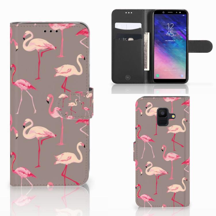 Samsung Galaxy A6 2018 Telefoonhoesje met Pasjes Flamingo