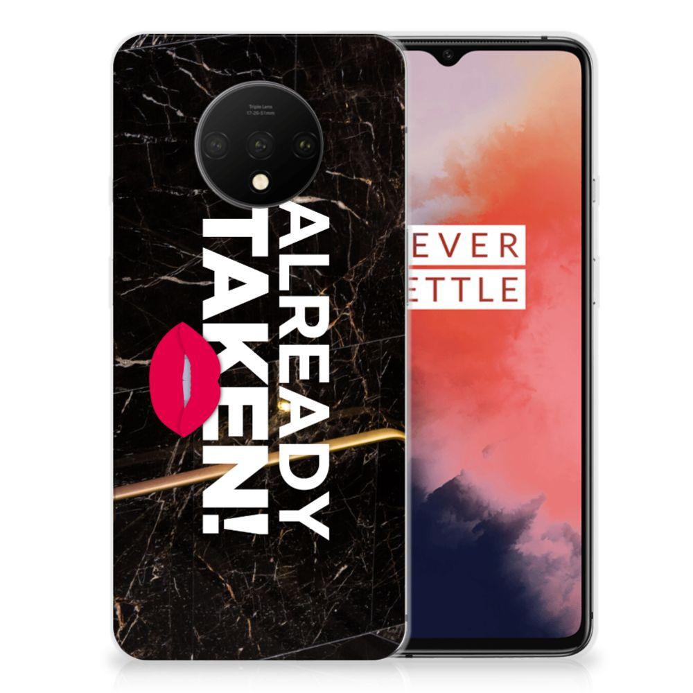 OnePlus 7T Siliconen hoesje met naam Already Taken Black