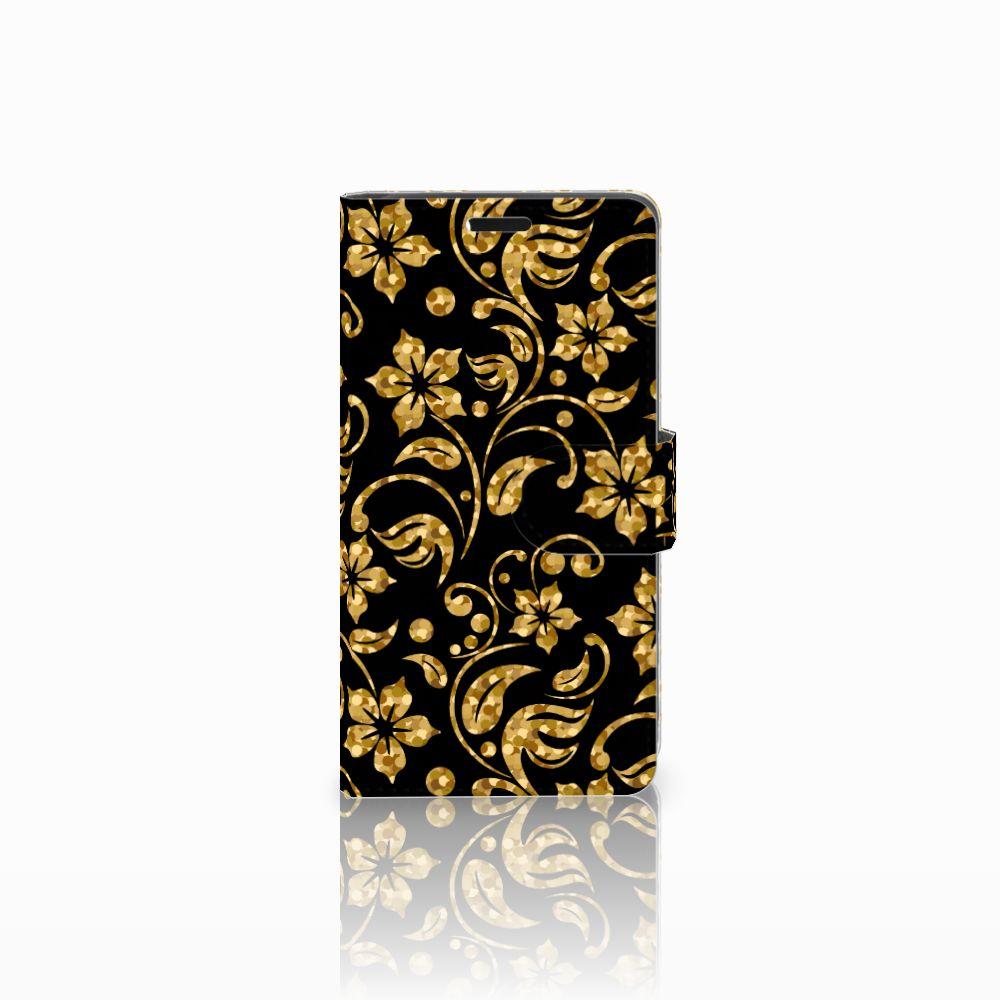 Lenovo C2 Power Boekhoesje Design Gouden Bloemen