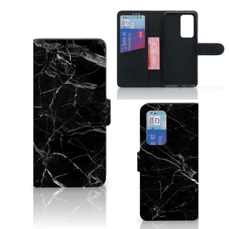 Huawei p40 probookcase marmer zwart niet alleen heeft deze bookcase een artistiek design van zwart marmer, ...
