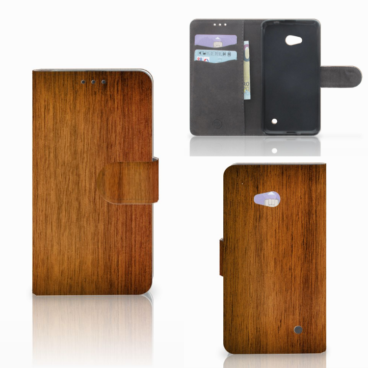 Microsoft Lumia 640 Book Style Case Donker Hout