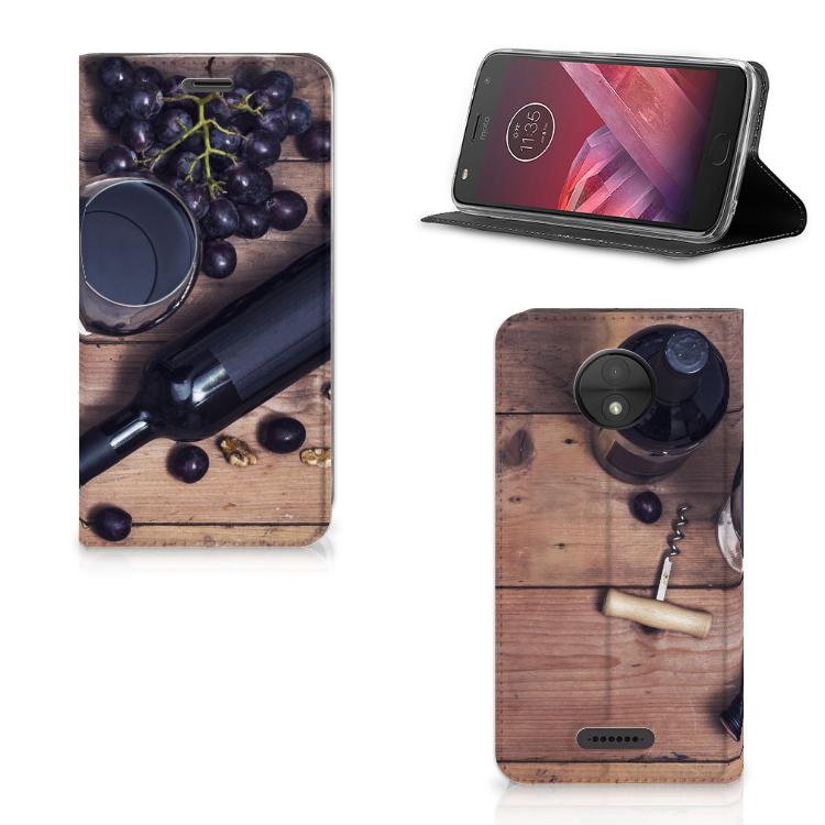 Motorola Moto C Flip Style Cover Wijn