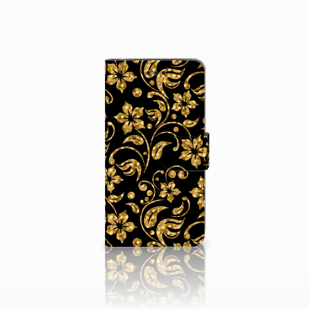 Samsung Galaxy J2 Pro 2018 Boekhoesje Design Gouden Bloemen