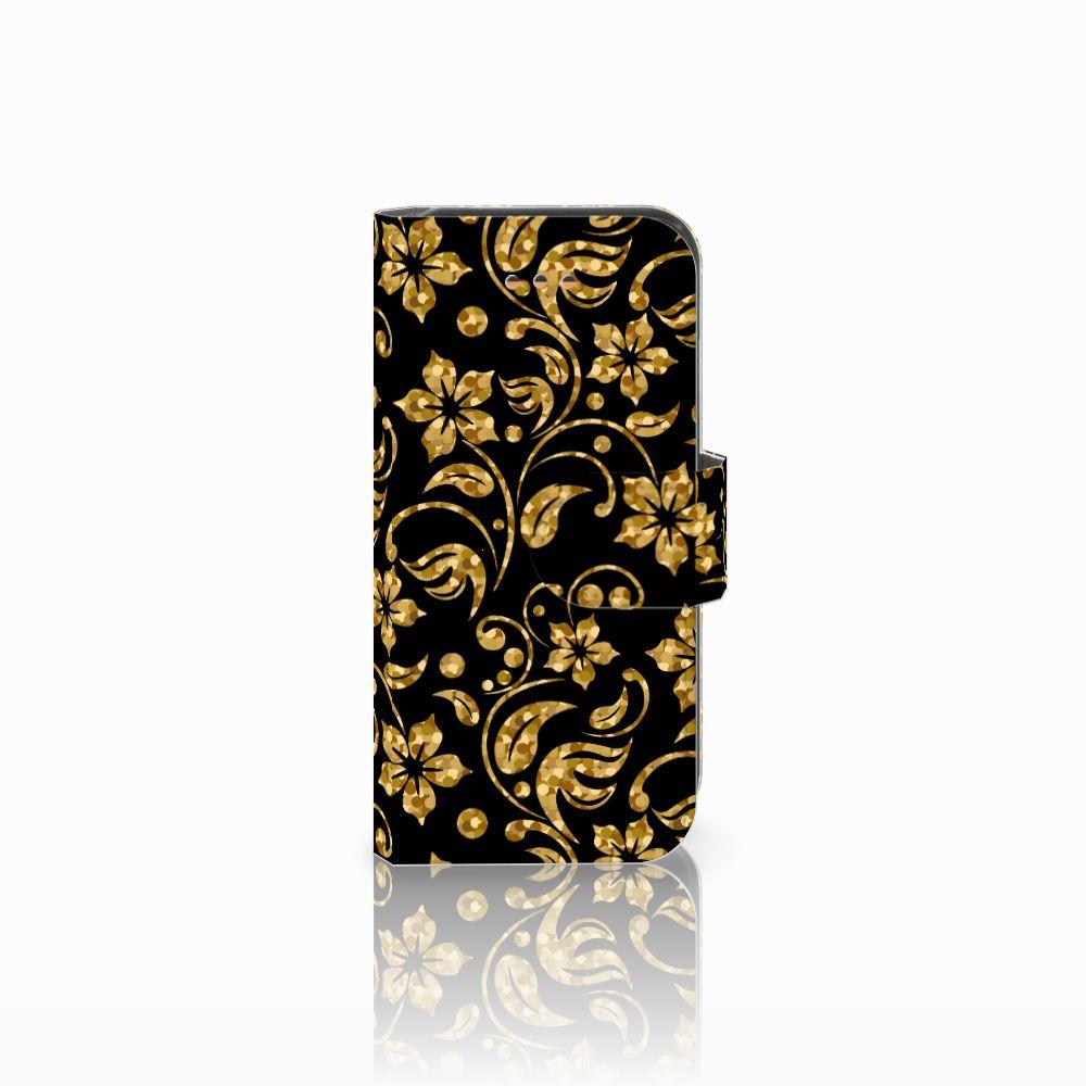 Apple iPhone 5C Boekhoesje Design Gouden Bloemen