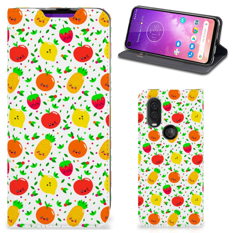 Motorola One Vision Flip Style Cover Fruits