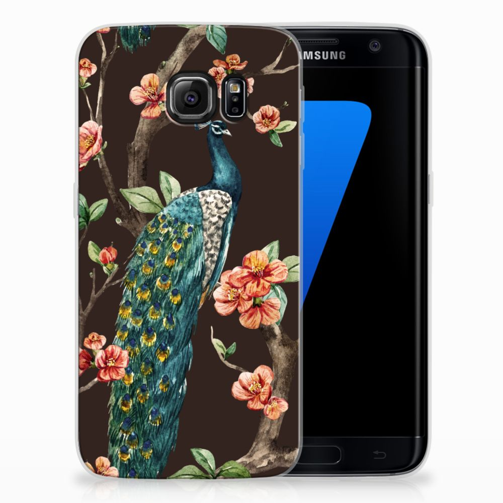Samsung Galaxy S7 Edge TPU Hoesje Pauw met Bloemen