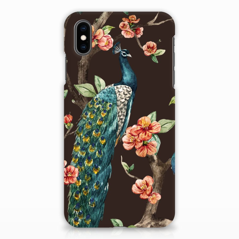Apple iPhone Xs Max Hardcase Hoesje Design Pauw met Bloemen