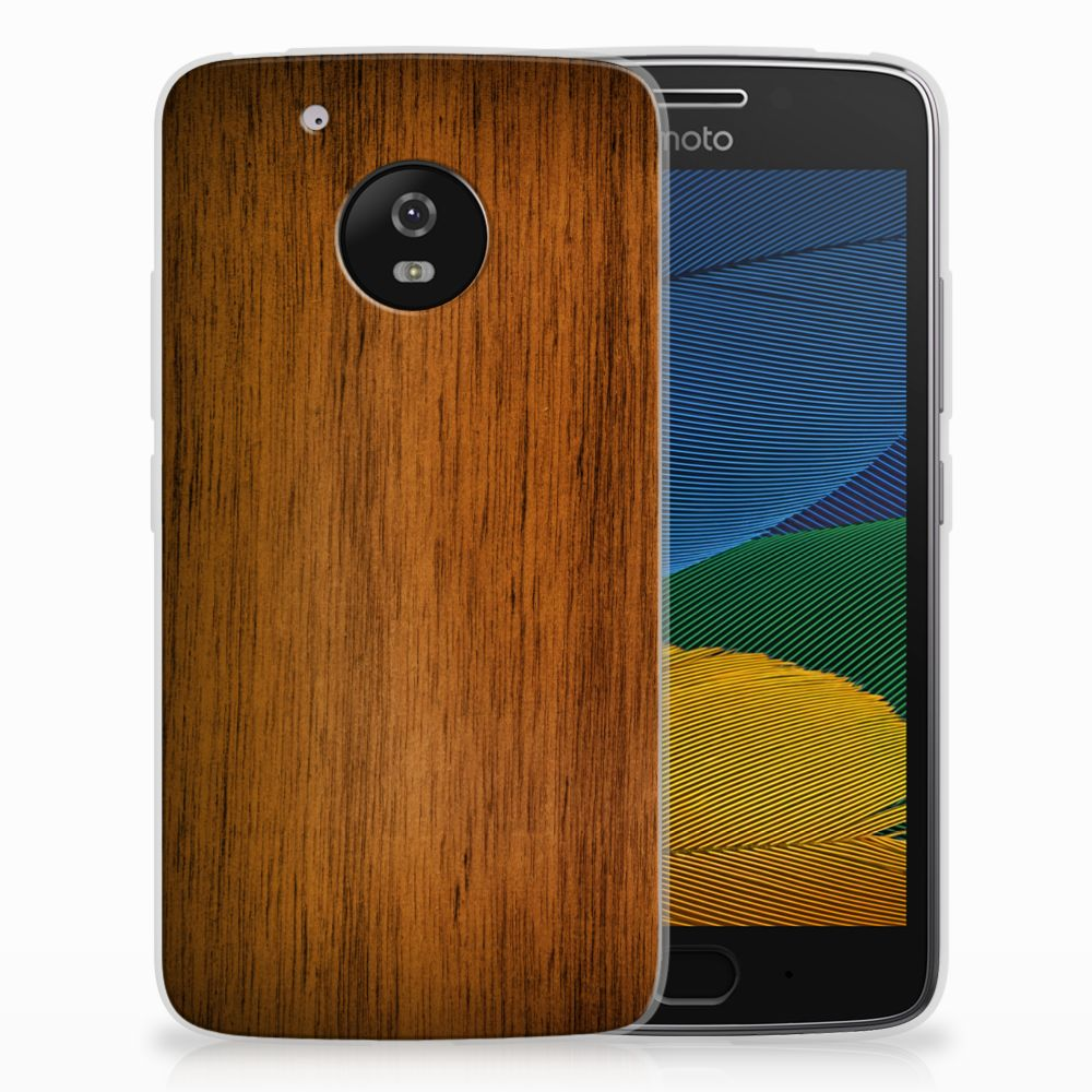 Motorola Moto G5 Uniek TPU Hoesje Donker Hout