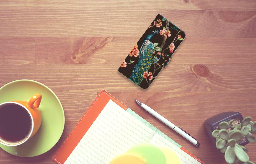 Acer Liquid Z530 | Z530s Telefoonhoesje met Pasjes Pauw met Bloemen