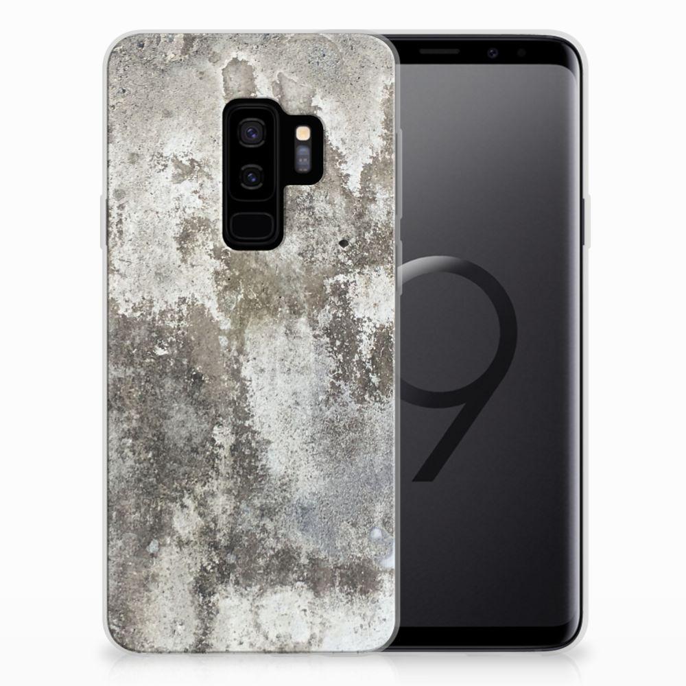 Samsung Galaxy S9 Plus TPU Siliconen Hoesje Beton Print