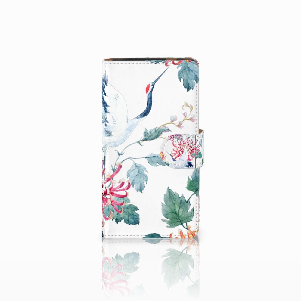 HTC Desire 601 Uniek Boekhoesje Bird Flowers