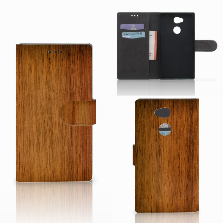Sony Xperia L2 Book Style Case Donker Hout
