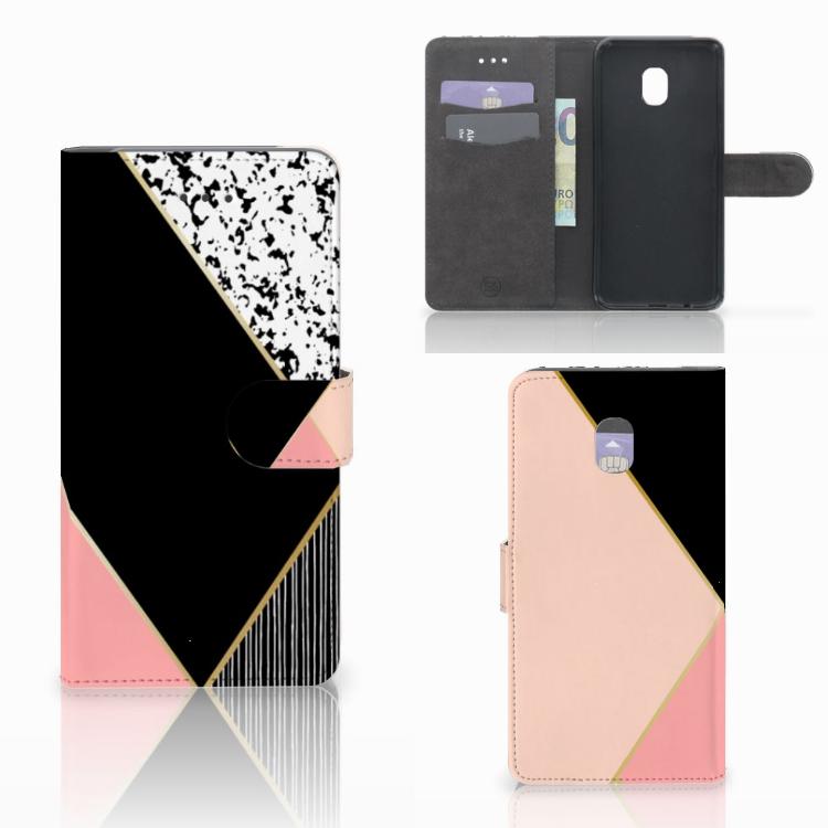 Samsung Galaxy J7 (2018) Bookcase Zwart Roze Vormen