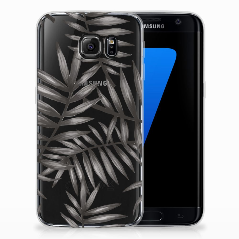 Samsung Galaxy S7 Edge Uniek TPU Hoesje Leaves Grey
