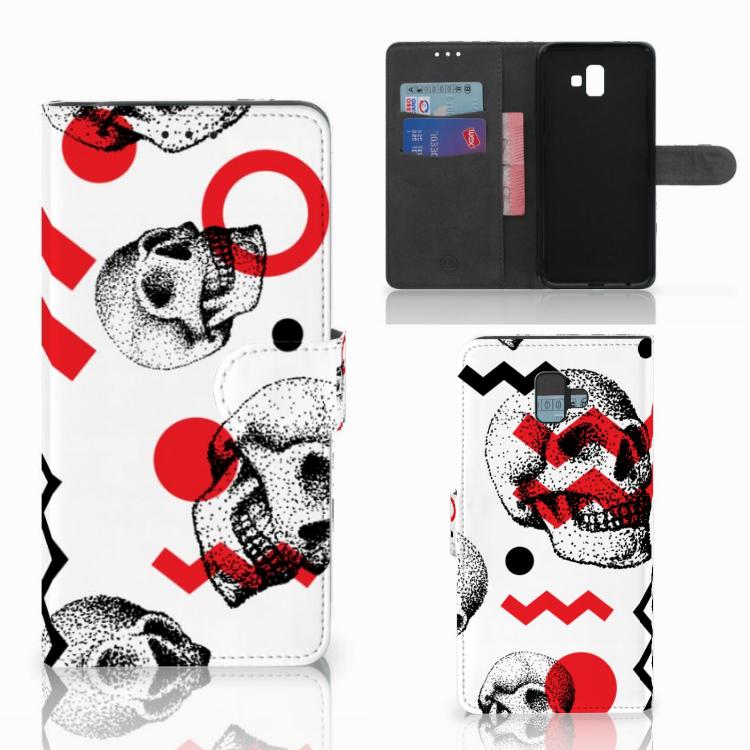 Telefoonhoesje met Naam Samsung Galaxy J6 Plus (2018) Skull Red