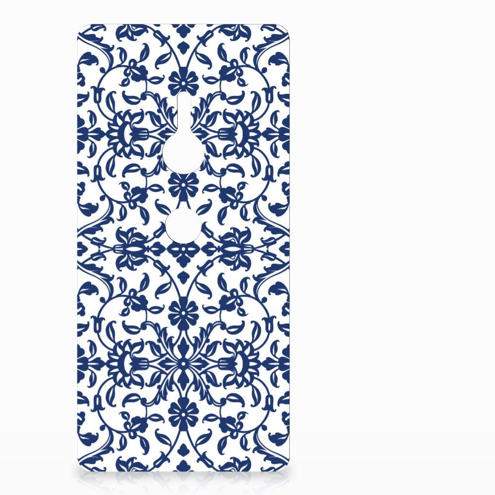 Sony Xperia XZ2 TPU Hoesje Flower Blue