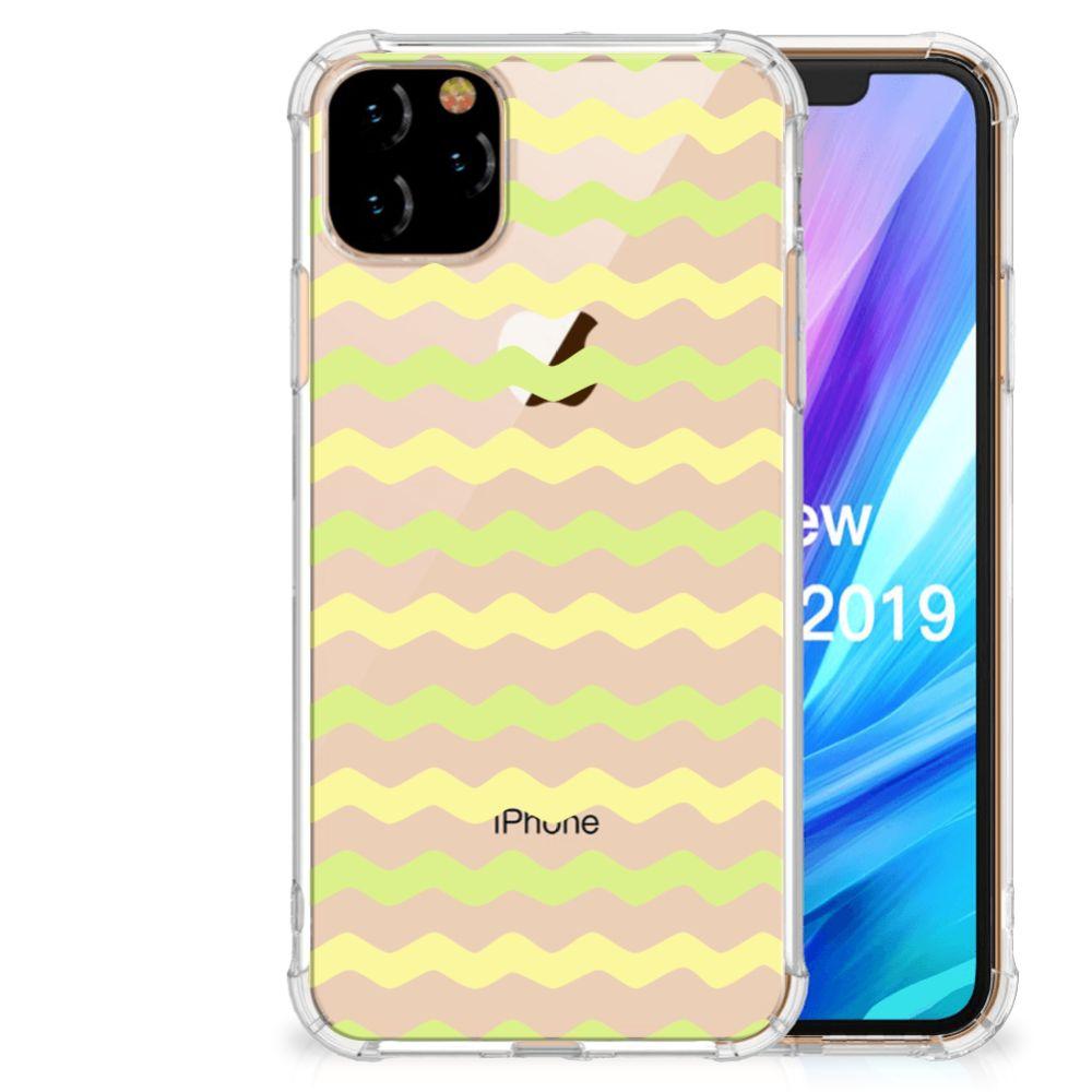 Apple iPhone 11 Pro Max Doorzichtige Silicone Hoesje Waves Yellow