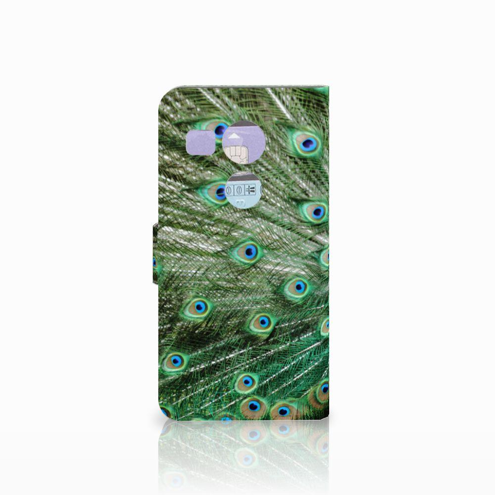 LG Nexus 5X Telefoonhoesje met Pasjes Pauw