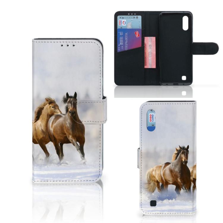 Samsung Galaxy M10 Telefoonhoesje met Pasjes Paarden