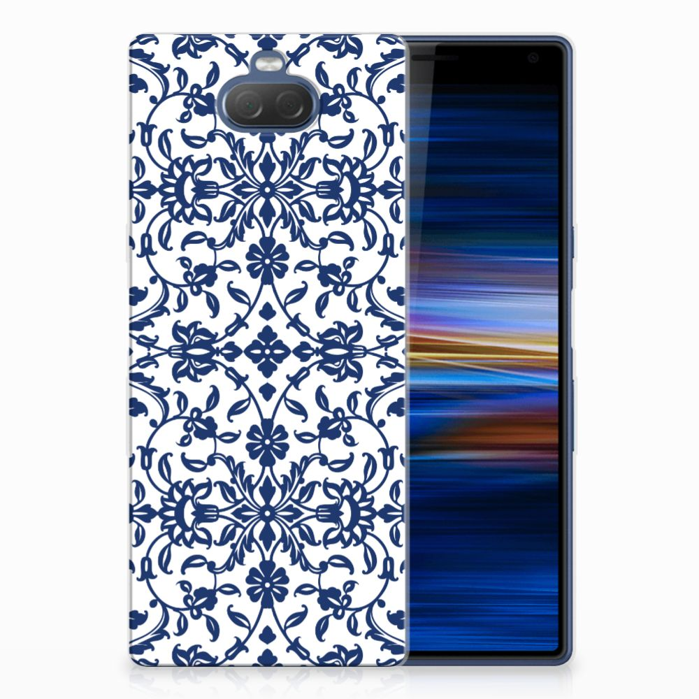 Sony Xperia 10 Plus TPU Hoesje Flower Blue