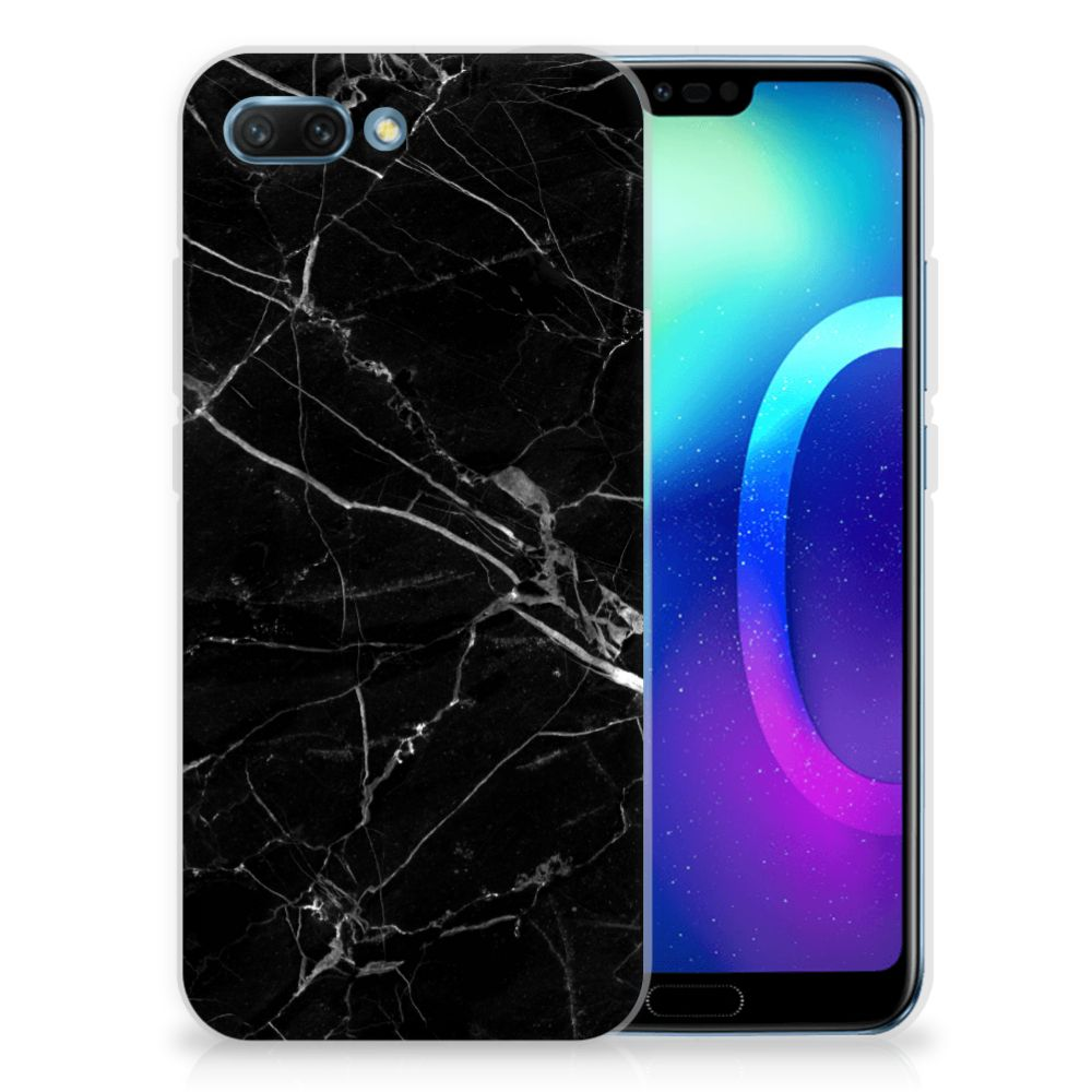 Huawei Honor 10 TPU Siliconen Hoesje Marmer Zwart