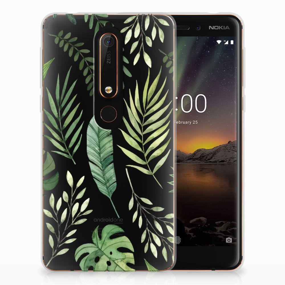 Nokia 6 (2018) Uniek TPU Hoesje Leaves