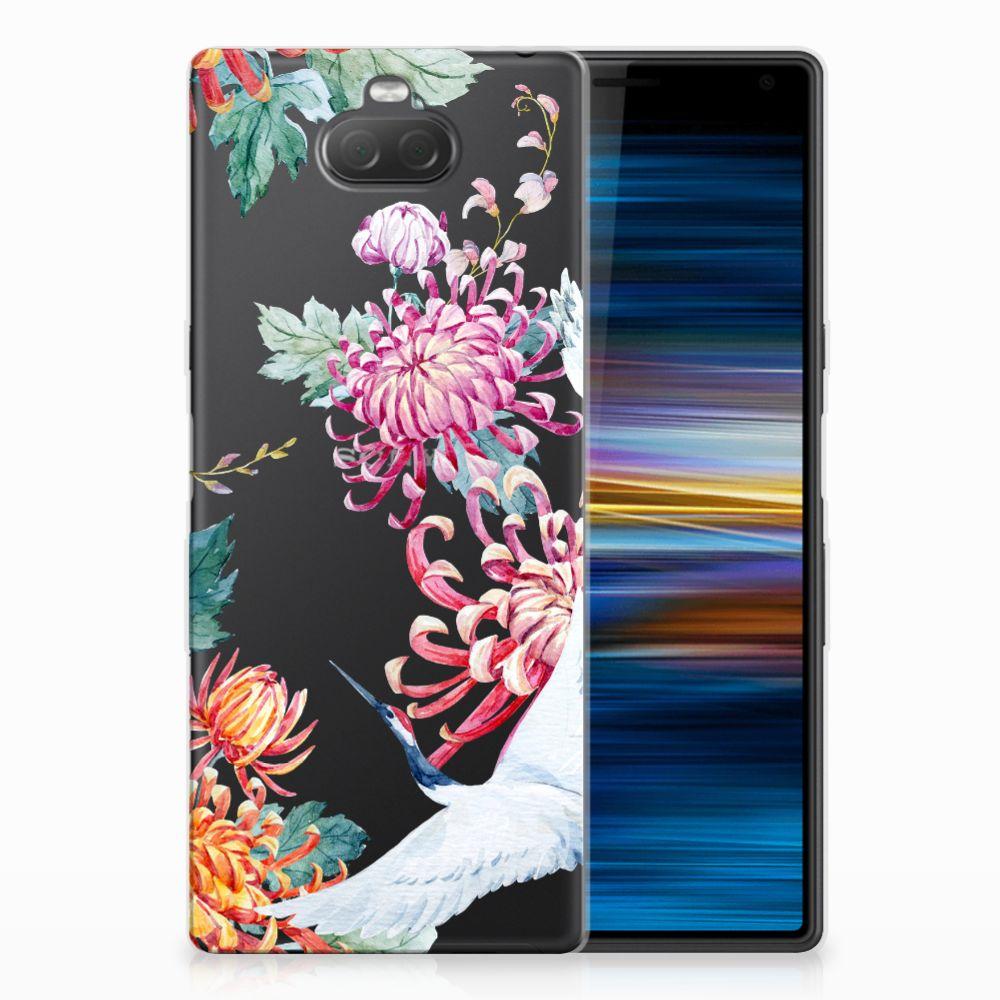 Sony Xperia 10 Leuk Hoesje Bird Flowers